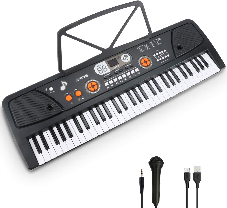 Teclado Piano 61 Teclas Teclado de Piano Portátil Principiantes Teclado electrónico piano Con Atril, Micrófono