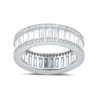 Amazon.com: Sterling Silver Simulated Diamond Baguette Eternity Ring ...