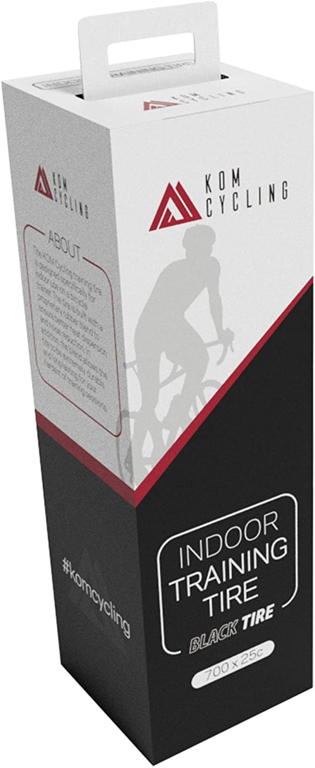 KOM Cycling Indoor Trainer Tire 700 x 25c - Indoor Road Bike Trainer Tire with Quiet Long Lasting Proprietary Rubber Compound - Perfect for Saris, Kinetic Kurt, Wahoo and Other Indoor Bike Trainers …