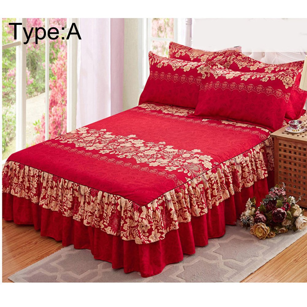 Chengstore Queen Bed Skirt Thickened Fitted Sheet Single Double Bed Non-slip Dust Ruffle Garden Bedspread