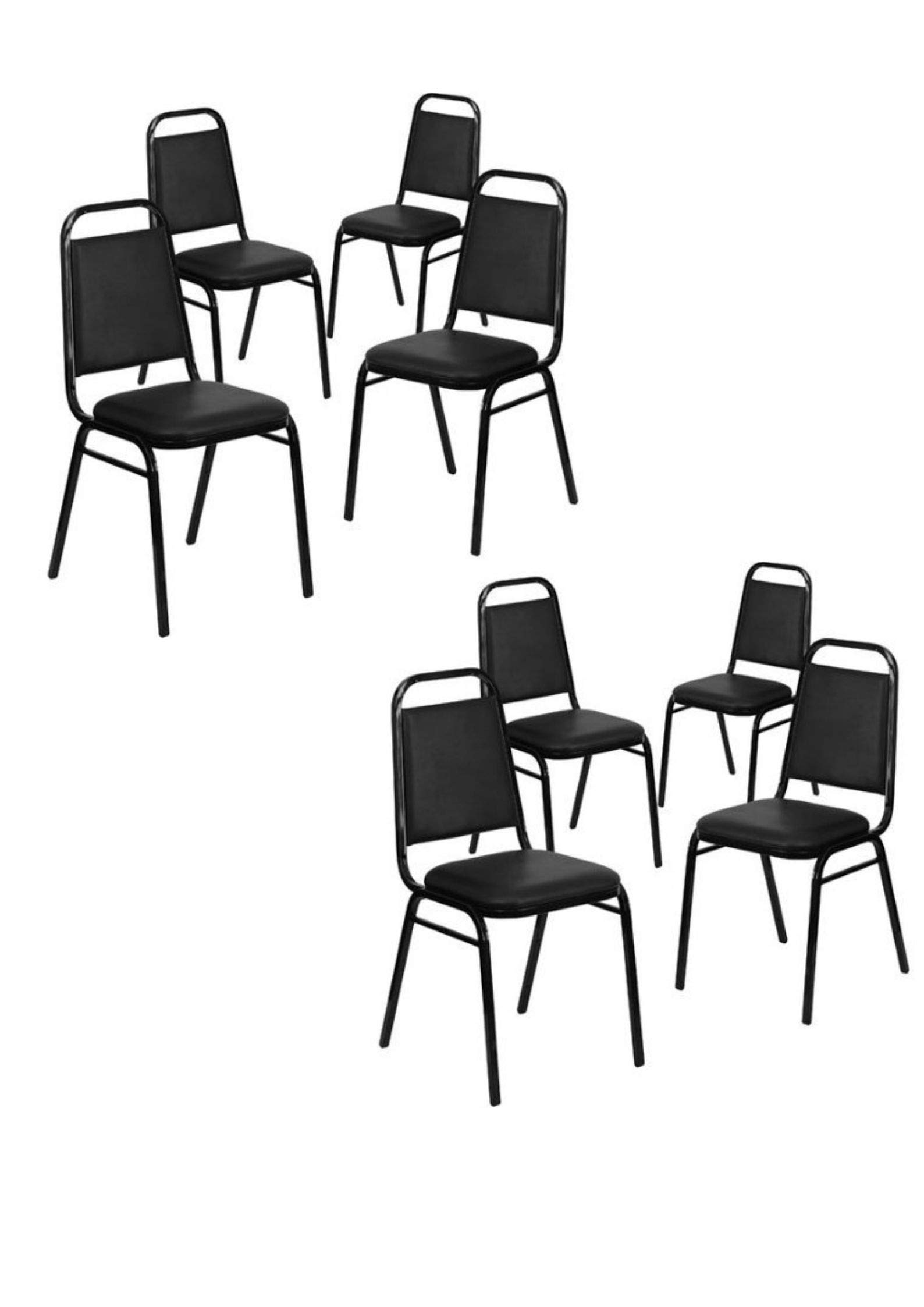 Flash Furniture 4-Pack Hercules Series Trapezoidal Back Stacking Banquet Chair with Vinyl and 1.5'' Thick Seat, Frame, Multiple Colors (8 Pack)