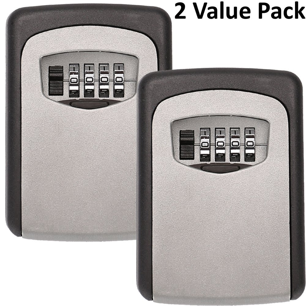 Tekmun Realtor Wall Mount Key Lock Box with 4-Digit Combination Made of Weather Resistant Steel for Indoors or Outdoors Holds up to 5 Keys