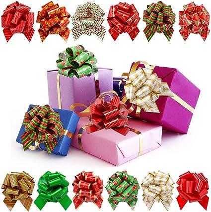 16 METALLIC BOWS SELF ADHESIVE MERRY CHRISTMAS XMAS PRESENT GIFT WRAPPING DECOR