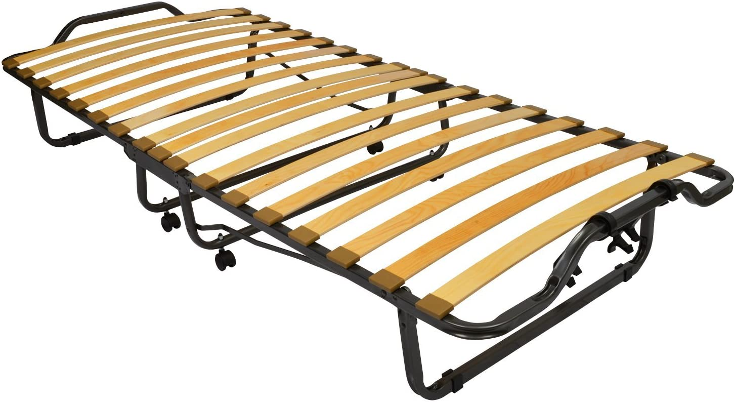 Beautissu/® Folding Bed Venetia 90 x 200 cm Foldable Guest Bed Travel Bed with Foam Core Mattress and Steel Frame