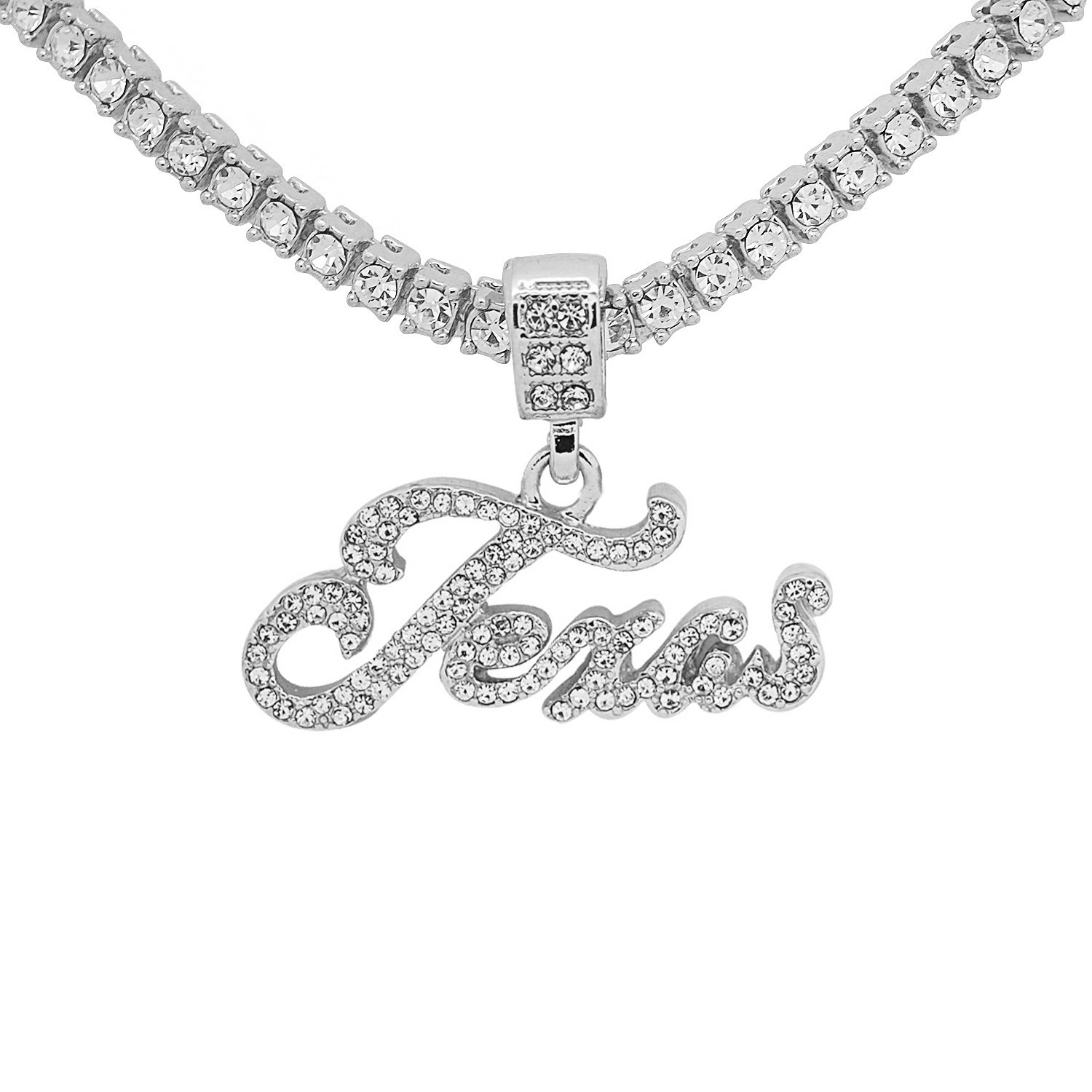 White Gold-Tone Hip Hop Bling CursiveTexas Letter Pendant with 20 Tennis Chain and 24 Rope Chain