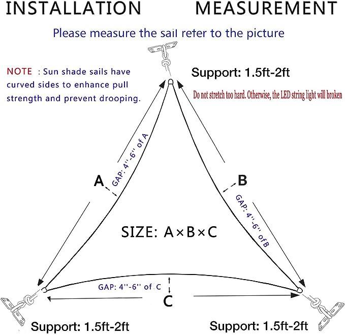 Hsuner toldo de 16 pies x 16 pies x 16 pies, Cubierta Triangular ...