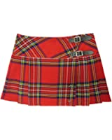 "Womens Red Plaid 13"" Wraparound Leather Straps Mini Kilt Skirt - Free Pin"