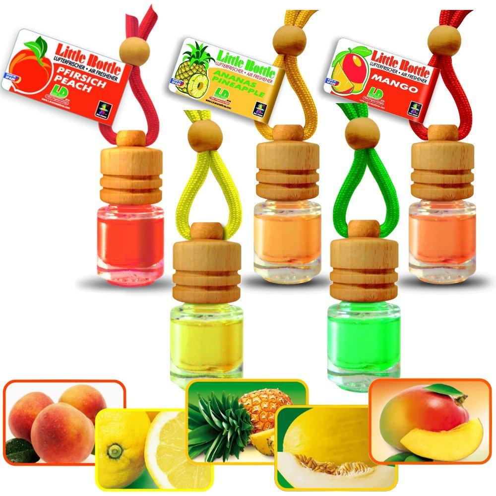 Duftmix SÜ DFRUCHT-MIX 5 Duftflakons - je 1x Ananas Mango Melone Pfirsich Zitrone a 4, 5ml Autoduft L&D