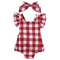 Hotone Newborn Infant Baby Girls Clothes Plaids Checks Romper Jumpsuit Bodysuit Outfits