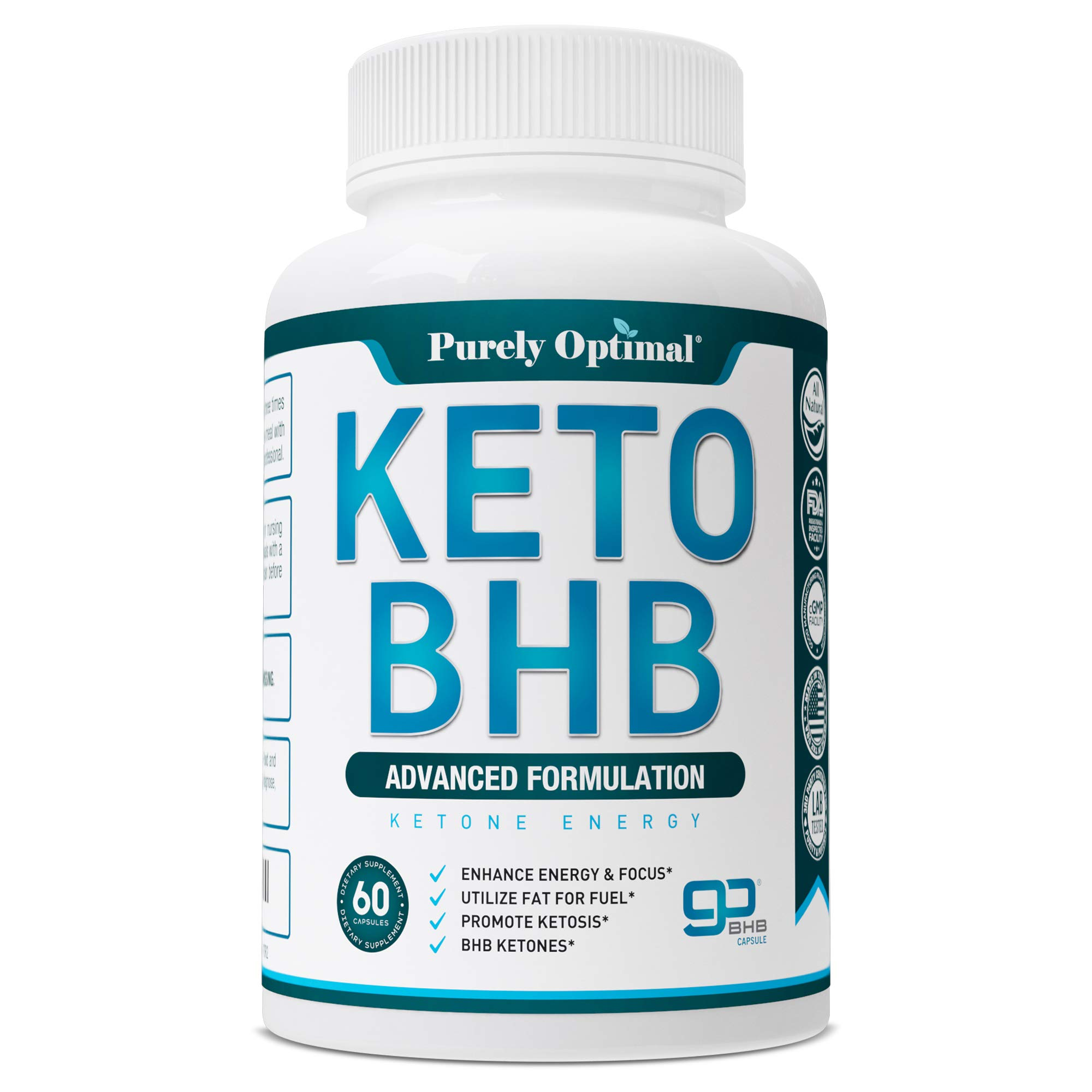 Premium Keto Diet Pills - Utilize Fat for Energy with Ketosis - Boost Energy & Focus, Manage Cravings, Support Metabolism - Keto BHB Supplement for Women and Men - 30 Day Supply by PURELY OPTIMAL