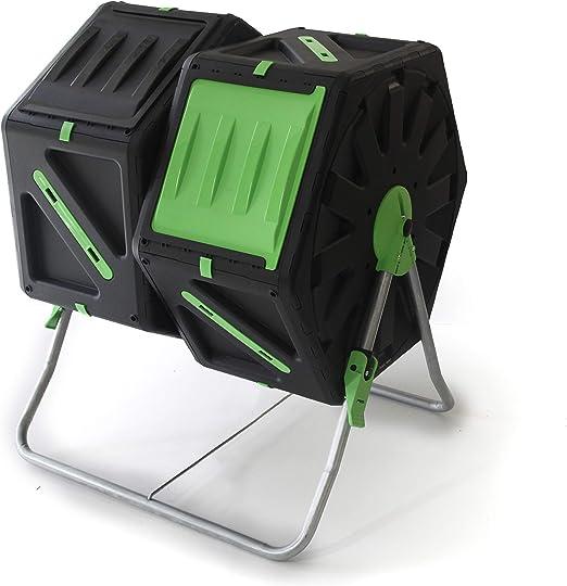 UPP® Compostador de barril, 2 cámaras de 70L para jardín o balcón ...