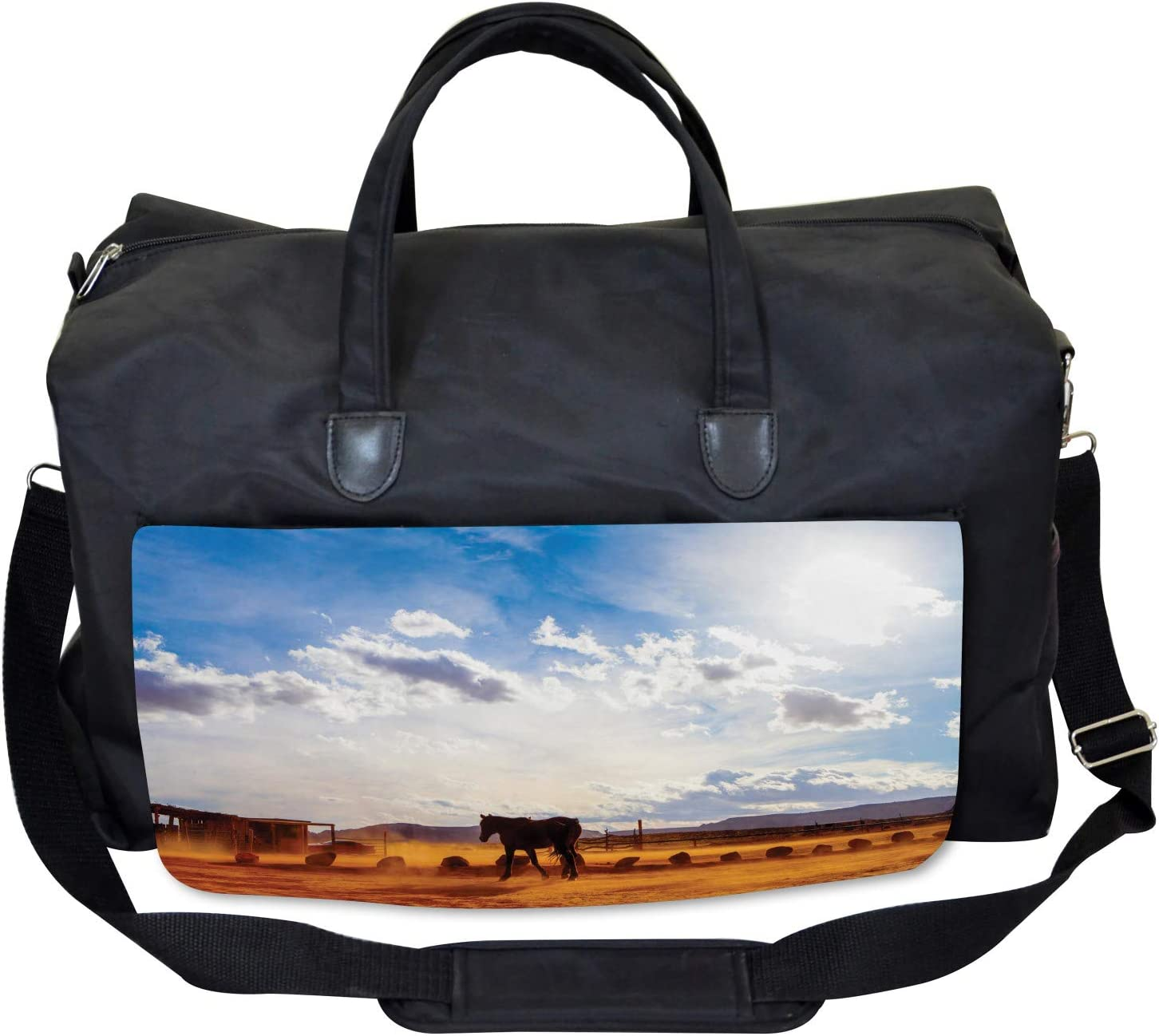 Ambesonne Western Gym Bag Large Weekender Carry-on Horse Valley Sky View