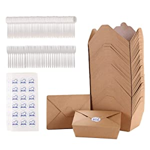 50pack WONNKIT Take Out Food containers Kraft Brown take Out Boxes 30oz 50oz 70oz Microwable Disposable containers Leak and Grease Resistant Food to go containers for Restaurants cartering