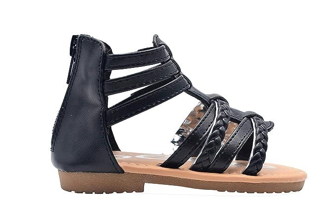 fdb7a9566 bebe Toddler Girls Gladiator Fashion Sandal Braided Metallic Trim Strap  Slide Shoe (10, Black