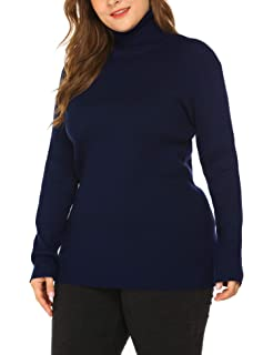 a5b323e3584 IN VOLAND Women s Plus Size Turtleneck Lightweight Long Sleeve Top Rib Knit  Pullover Sweater