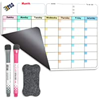 Magnetic Dry Erase Refrigerator Calendar by EPRO, Large Calendar Whiteboard Monthly Planner - 2 Fine Tip Markers and…