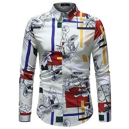 Sonnena Hombre Hombre Camiseta Estampado Manga largas, Moda Impresa Blusa Casual Camisas de Manga Larga Delgada Tops Estilo Playa Urbano Citas Fiesta: ...