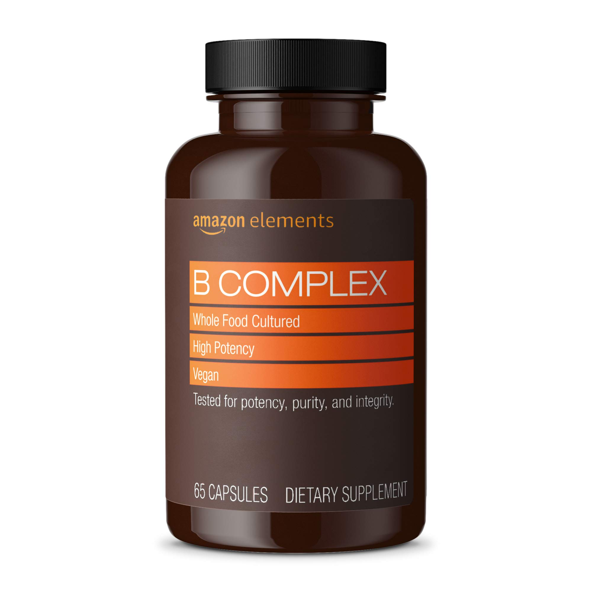 Amazon Elements B Complex, High Potency, 83% Whole Food Cultured, Supports Immune and Normal Energy Metabolism, Vegan, 65 Capsules, 2 month supply (Packaging may vary)