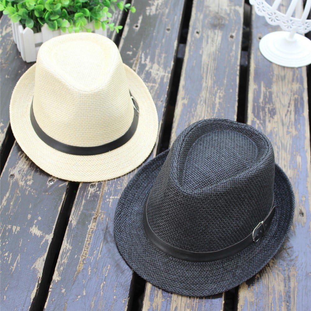 Summer Beach Straw Pamoa Trilby Hat Gangster Cap Transer Fedora Hat