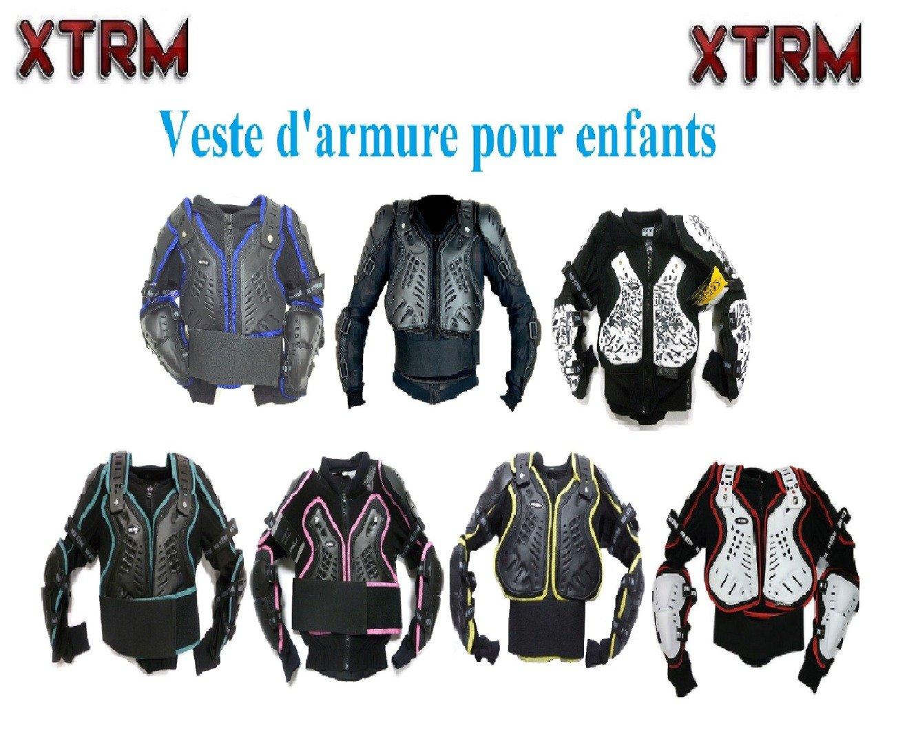Motos Enfants Armure XTRM Enfant Corps Armor Vest Nouveau Motocross Quad MX Courses Hors-Piste Professionnel de Protection ATV Sport CE approuver Armure - Noir - 4 anné es/XS MOTOHART