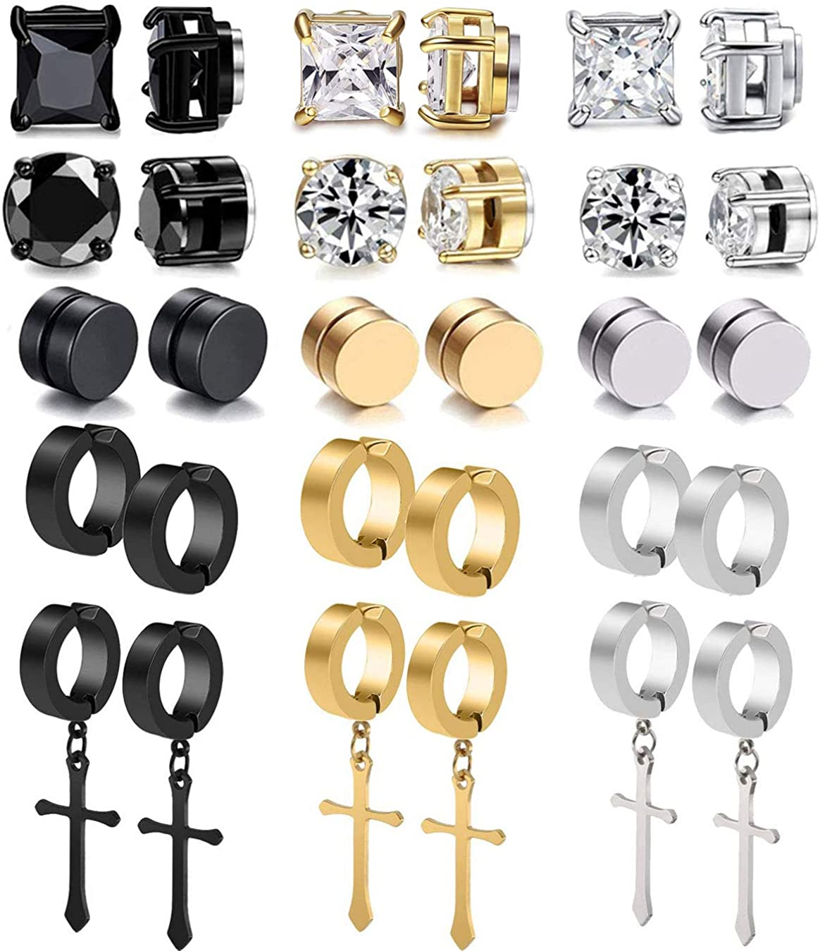 MOZAKA 10 Pairs CZ Stainless Steel Non Pierced Magnetic Stud Earrings For Men Cool Stud Dangle Chain Huggie Hinged Earring Set