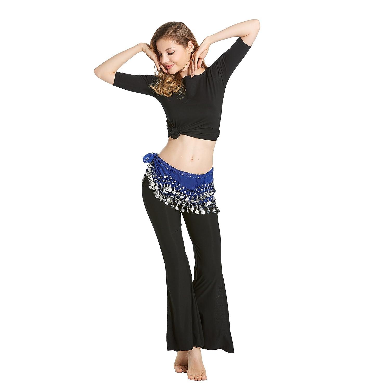 HOTER mousseline de soie pendent pièces dargent ventre hanche foulard danse Blanc ToyCentre HIP0Y le style de la mode Blanc