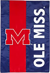 Team Sports America Collegiate University of Mississippi Embroidered Logo Applique Garden Flag, 12.5 x 18 inches Indoor Outdoor Double Sided Decor for Collegiate Fans