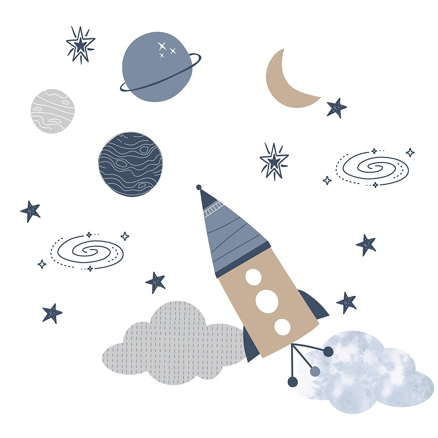 Lambs & Ivy Sky Rocket Planets/Stars Wall Decals/Stickers - Blue/Gray/Tan