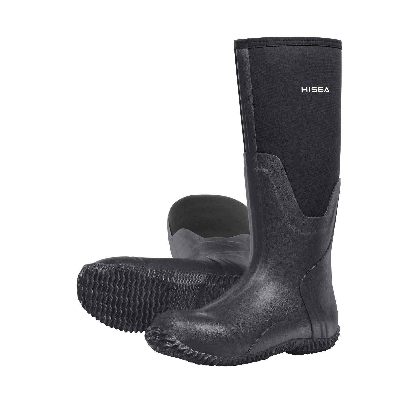Hisea Mens Insulated Rubber Neoprene Boots Waterproof Durable Insulated Outdoor Winter Snow Rain Boots Hunting Arctic Boot Black Size 6 by Hisea (Image #1)