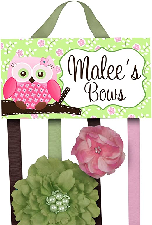 Personalized Hair Bow Holder Pink Owl