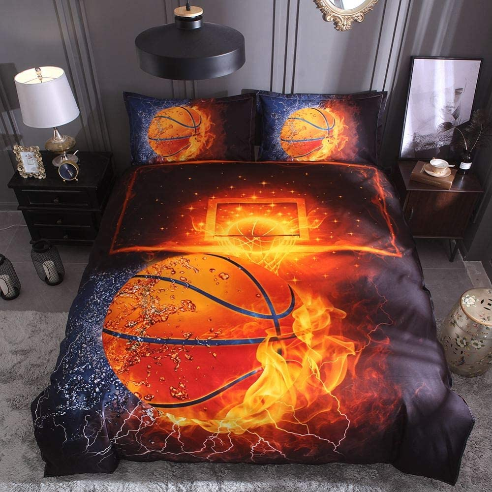 -1pcs Duvet Cover+2pcs Pillowcase,King Dthome 3D Basketballs Duvet Cover Set for Boys 3Pcs Printed Sports Kids Bedding Set for Teens Comforter not Included
