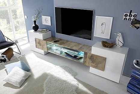 Arredocasagmb.it Mobile Porta TV Moderno Bianco Lucido Legno Antico Pero  Soggiorno Inserto