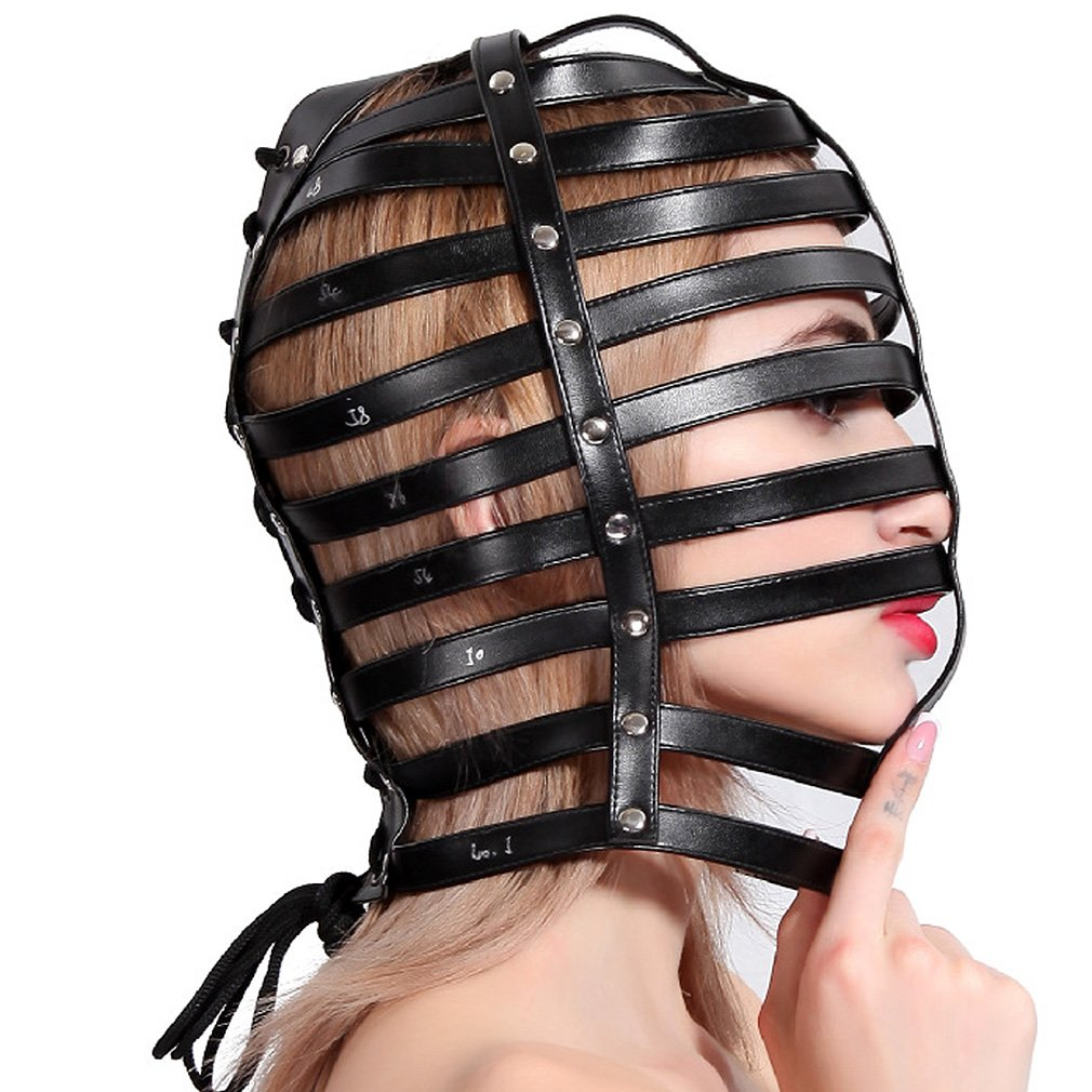 Amazon.com: Leather Mask Headgear Full Head Harness Unisex Asphyxia Black  Hood Fetish: Clothing