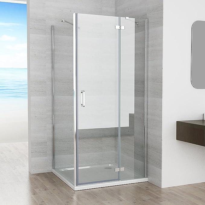 90 x 90 x 195 cm Mampara de ducha 90 cm Bisagra Puerta 90 cm Aspecto pared Nano Cristal con ducha bañera: Amazon.es: Bricolaje y herramientas