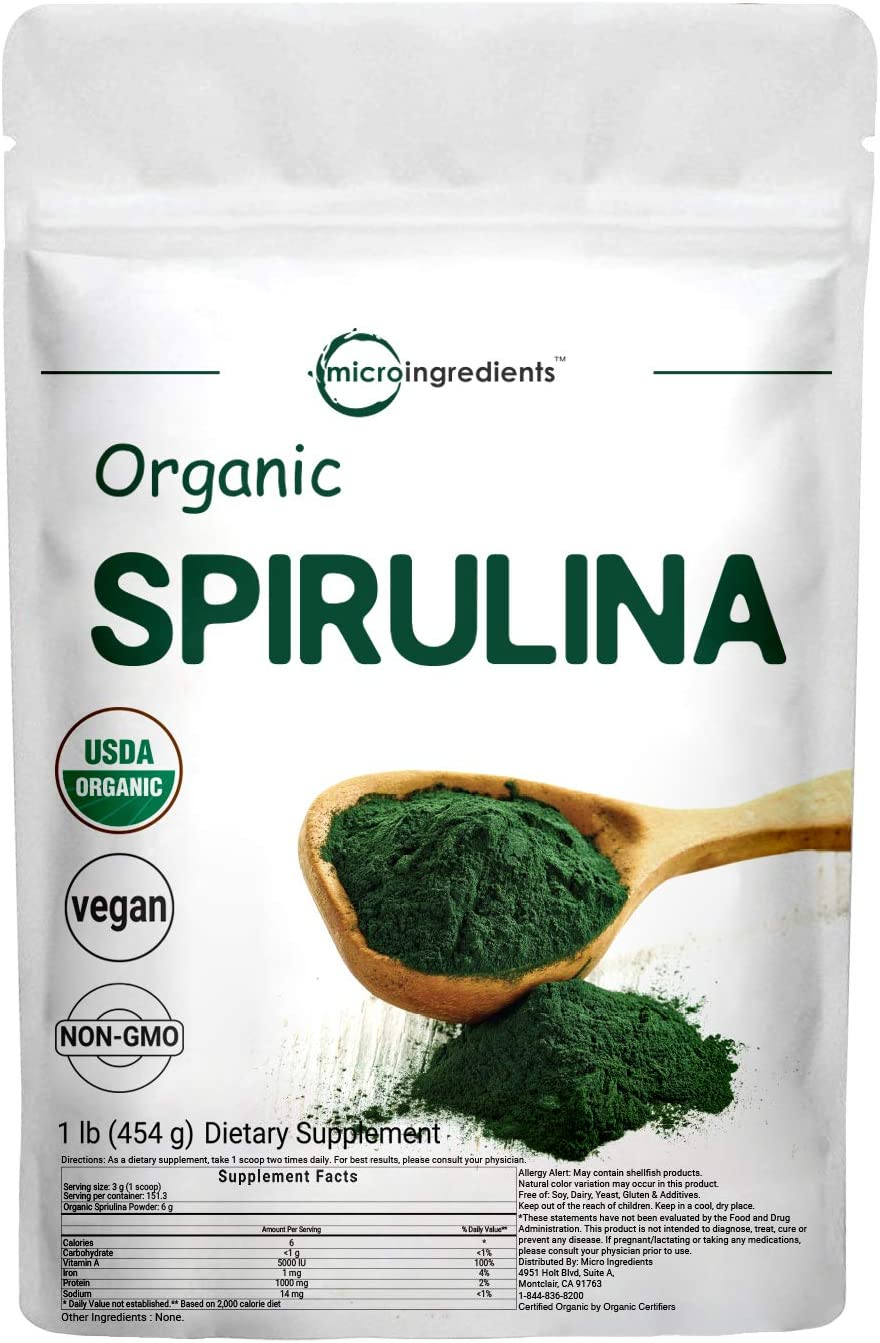 Micro Ingredients Pure Organic Spirulina Powder,1 Pound, Rich in Antioxidant, Minerals, Fatty Acids, Fiber and Protein, No Irradiated, No Contaminated, No GMOs and Vegan Friendly: Health & Personal Care