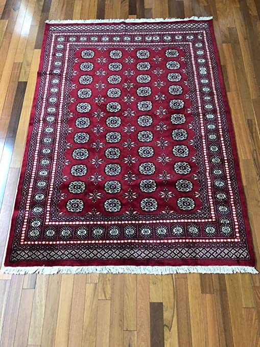 Amazon Com 7 9 X 5 6 Ft Red Hand Knotted Red Bokhara Rug