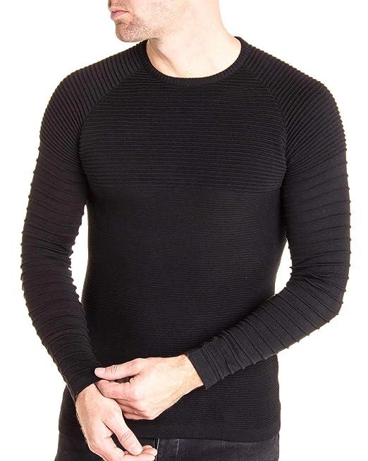 Couleur Pull Nervurée Maille L Blz Noir Homme Jeans Taille S6BnWgp