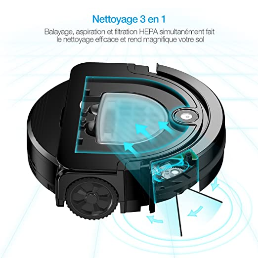 Housmile Robot Aspirador con Sensores, 2 Cepillos Laterales y 2 Modos de Limpieza(Batería de Litio 2600mAh)Color -Negro: Amazon.es: Electrónica
