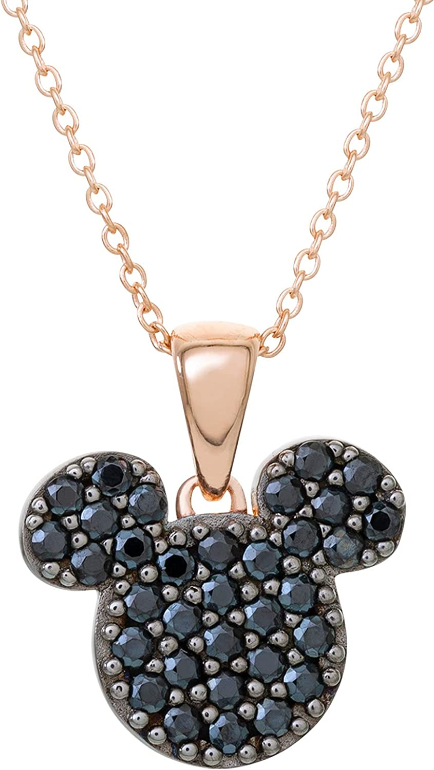 Disney Mickey Mouse Jewelry for Women, Sterling Silver Pink Gold Plated Cubic Zirconia Pendant Necklace, 18 Inch Chain,
