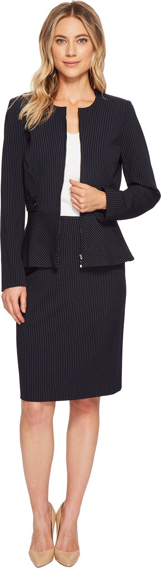 Tahari by ASL Women's Pinstripe Skirt Suit w/Waistband Tabs Navy/White 10