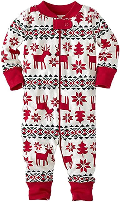 BOZEVON Familia Ropa de Dormir Mamá Papá Niños Conjunto Navidad Pijama Conjunto