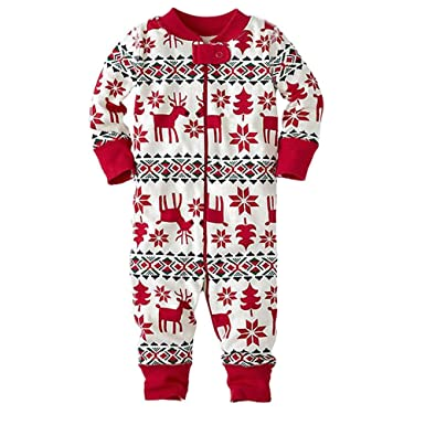 9d1443691 BOZEVON Family Christmas Pajamas Sets Deer Striped Sleepwear  Amazon ...