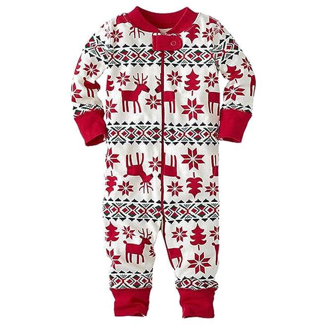 BOZEVON Familia Ropa de Dormir Mamá Papá Niños Conjunto Navidad Pijama Conjunto - Bebé Rojo
