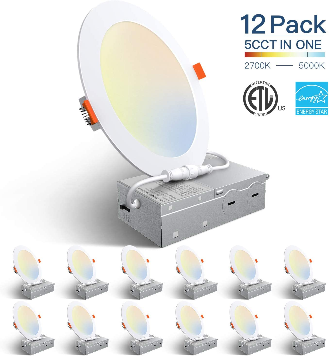 Amico 12 Pack 6 Inch 5CCT Ultra-Thin LED Recessed Ceiling Light with Junction Box, 2700K-5000K Selectable, 12W Eqv 110W, Dimmable Can-Killer Downlight, 1050LM High Brightness - ETL and Energy Star