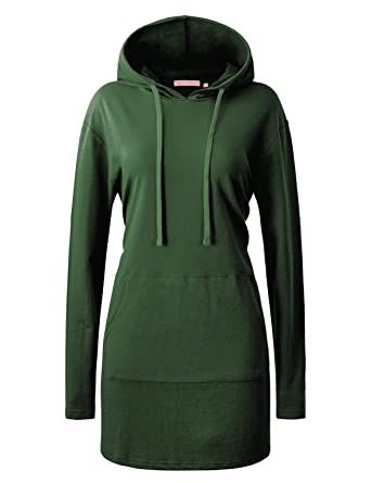 a59f8356 Regna X Women O-Neck Cotton Solid Color Long Sleeve Sweatshirts Dress Green  S