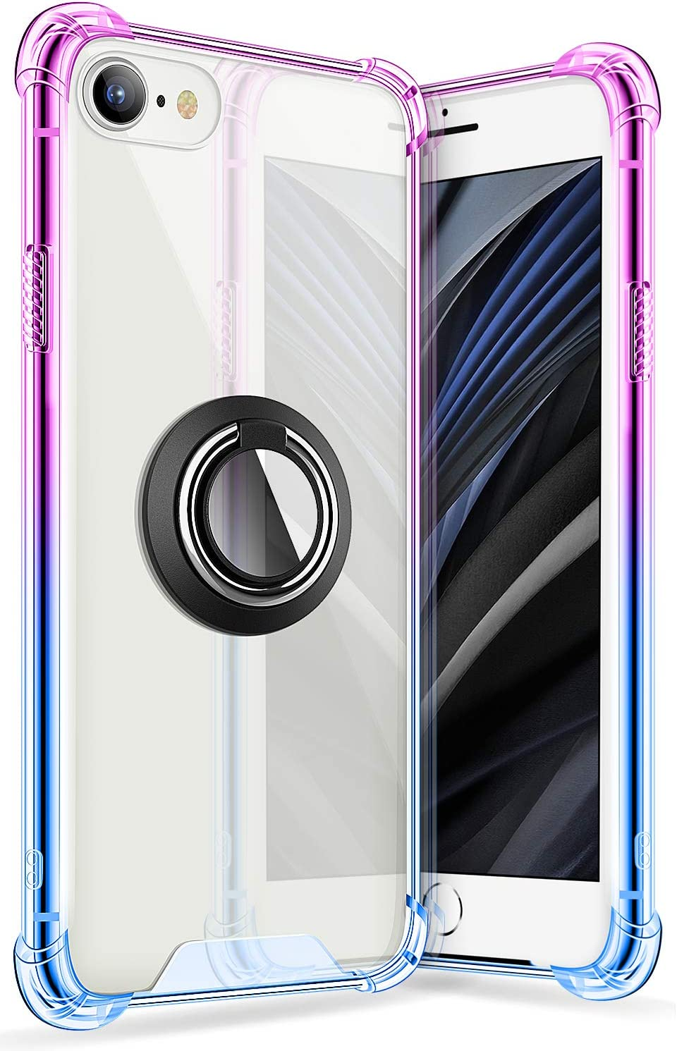 iPhone SE 2 Case 4.7 Inch 2020, SANKMI Rugged Protective Clear Ring Kickstand and Work with Magnetic Car Mount Colorful Case for iPhone SE 2nd Generation iPhone 8 iPhone 7(Purple Blue)