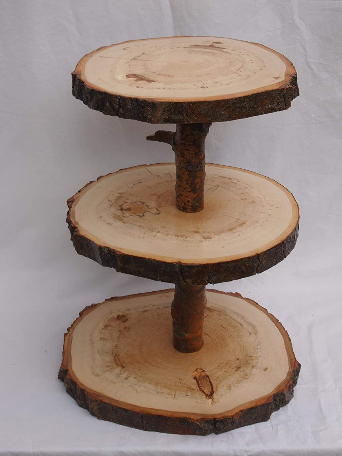 3 tier wood slice display stand, cupcake stand, dessert display, rustic event/wedding