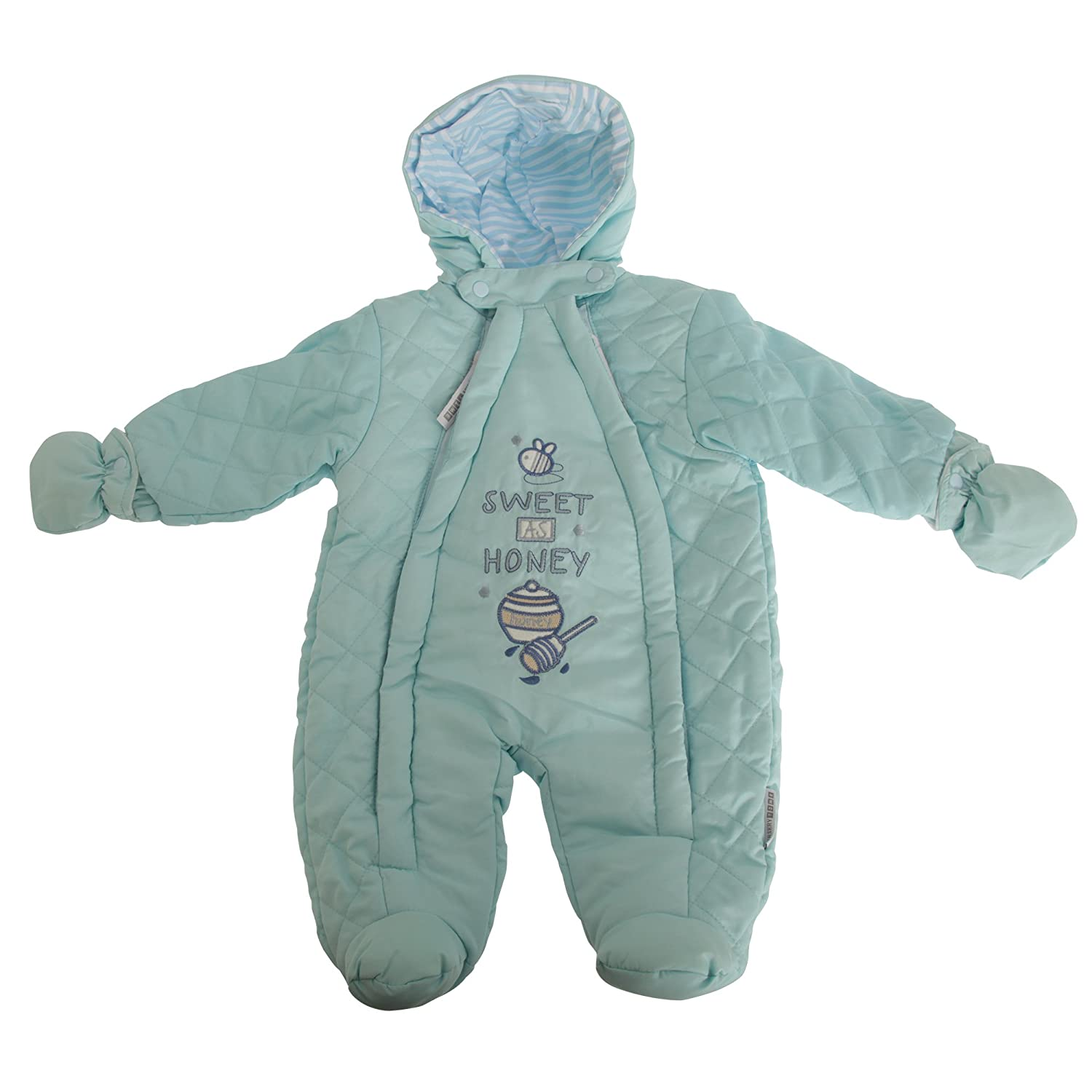 Nursery Time Baby Boys/Girls Sweet As Honey All in One Hooded Winter Snowsuit (Newborn) (Sky Blue) UTBABY1426_3