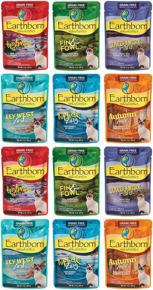 Earthborn Holistic Grain Free Wet Cat Food Pouches, 6 Flavors, 3-Ounces Each (12 Total Pouches)