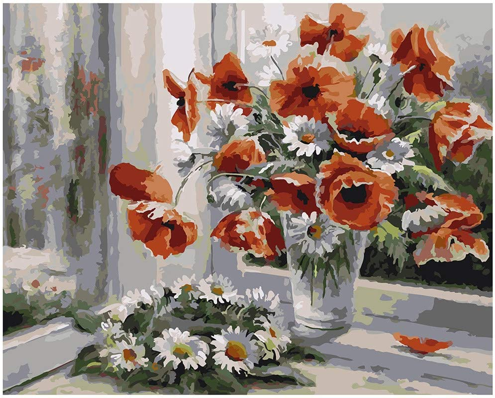 Binory Desktop Flowers Series Oil Painting by Numbers Painting Kit for Adults Kids Beginner and Home Wall Decor,with Painting Canvas,1 Set Pigment,3 Drawing Brushes,2 Metal Hooks and 2 Nails(Orange)